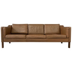 Mid-Century Børge Mogensen Three-Seat Sofa in Brown Leather