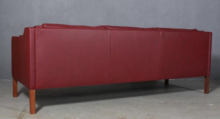 Leather Børge Mogensen Three-Seat Sofa, Model 2213 For Sale