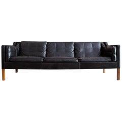 Børge Mogensen Three-Seat Sofa, Model 2213 in Black Leather, Denmark, 1962