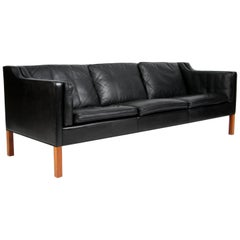 Børge Mogensen Three-Seat Sofa, Model 2213, Original Black Leather