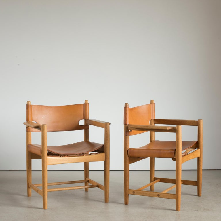 Scandinavian Modern Børge Mogensen Two Armchairs for Fredericia Furniture For Sale