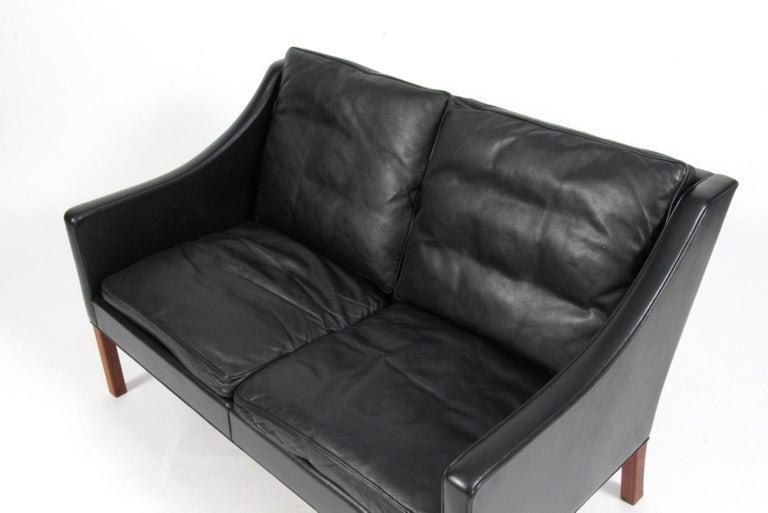 Børge Mogensen Two-Seat Sofa, Model 2208, Original Black Leather