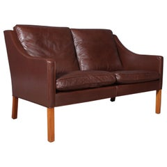 Børge Mogensen Two-Seat Sofa, Model 2208, Original Black Leather