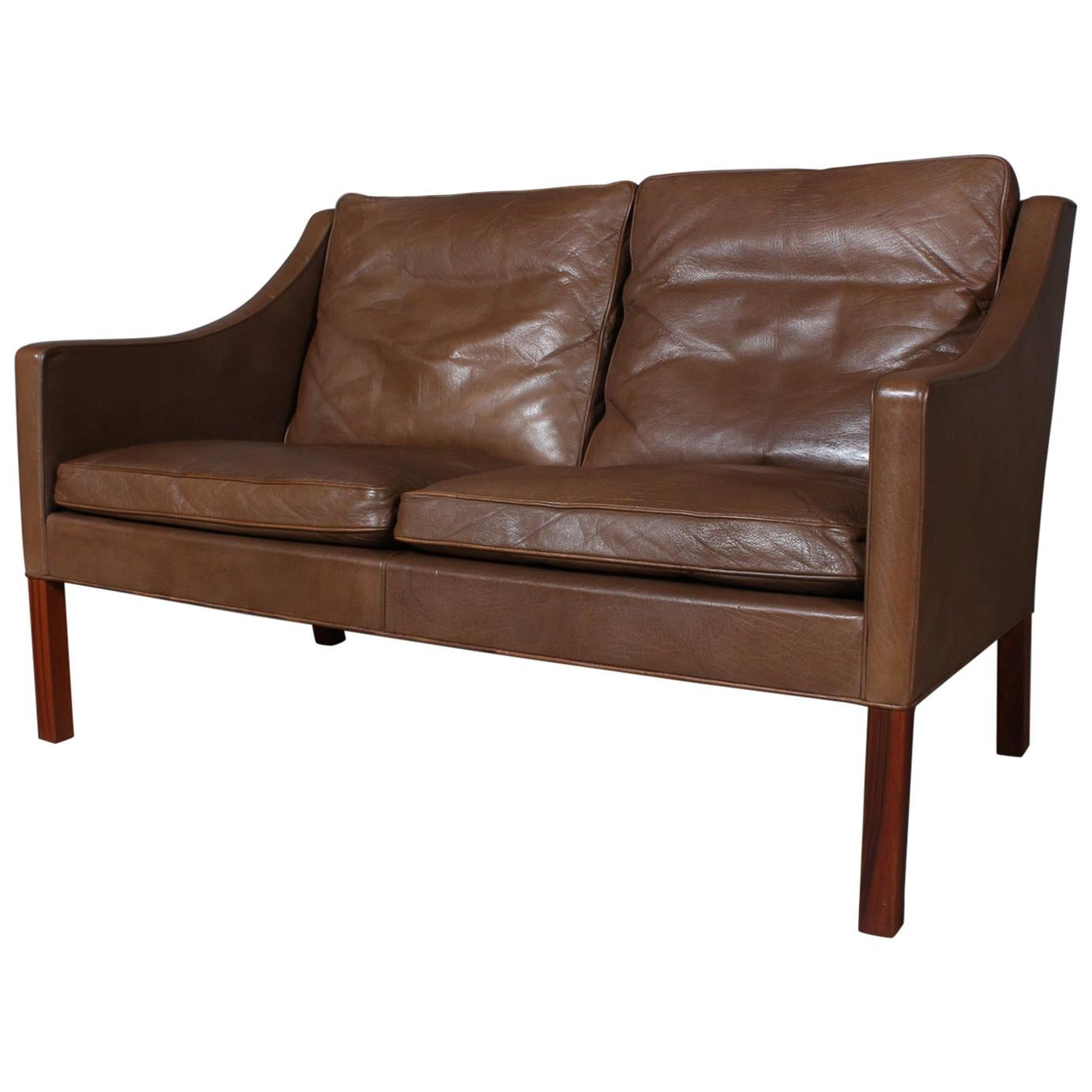 Børge Mogensen Two-Seat Sofa, Model 2208, Original Brown Leather