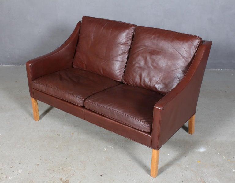 Awe Inspiring Borge Mogensen Two Seat Sofa Model 2208 Original Dark Brown Leather Onthecornerstone Fun Painted Chair Ideas Images Onthecornerstoneorg