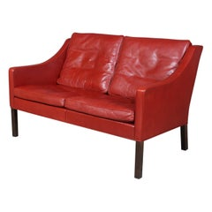 Børge Mogensen Two-Seat Sofa, Model 2208, Original red Leather