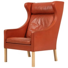 Børge Mogensen Wing Back Chair in Original cognac leather, Model 2204