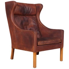 Børge Mogensen Wingback Chair, Model 2204, Original Patinated Nature Leather
