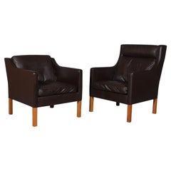 Børge & Peter Mogensen Lounge Chairs in Brown Leather, Model 2431 + 2421