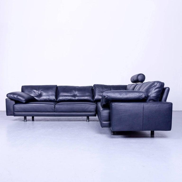 Black Colored Original Brühl Sippold Designer Leather Sofa In A Minimalistic And Modern Design