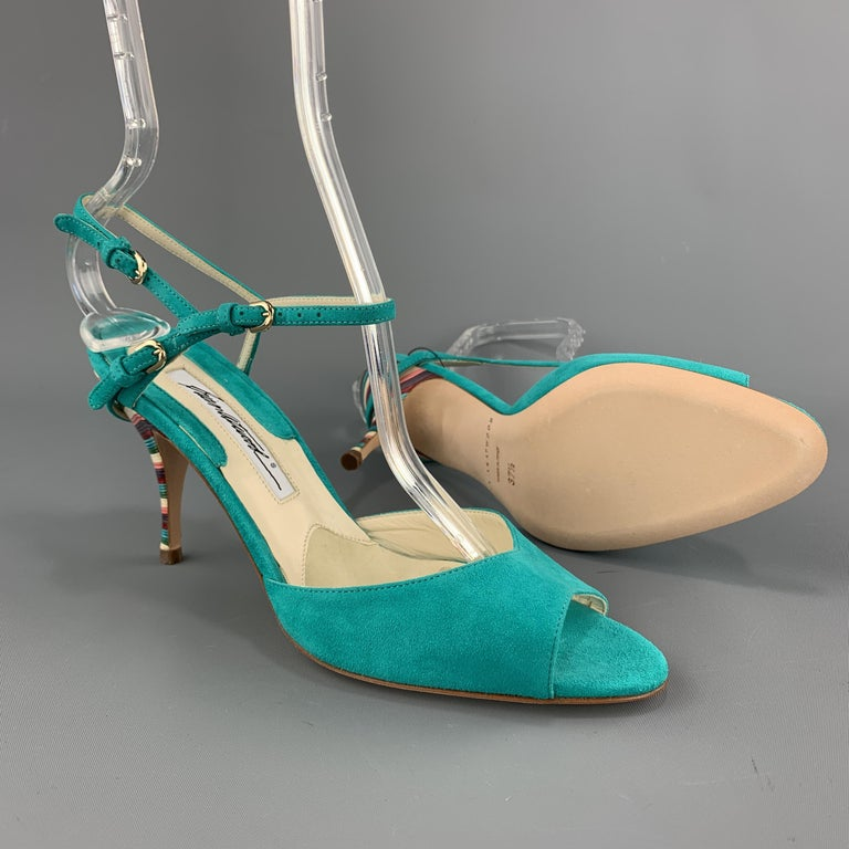 Blue BRIAN ATWOOD 7.5 Turquoise Suede Rainbow Heel Peep Toe TRIXIE Sandals For Sale