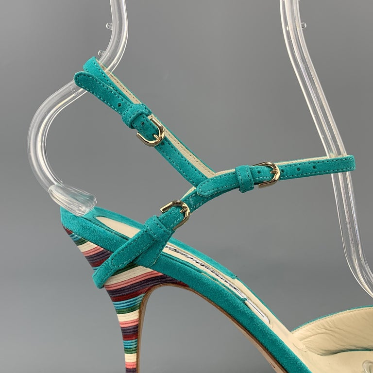Women's BRIAN ATWOOD 7.5 Turquoise Suede Rainbow Heel Peep Toe TRIXIE Sandals For Sale