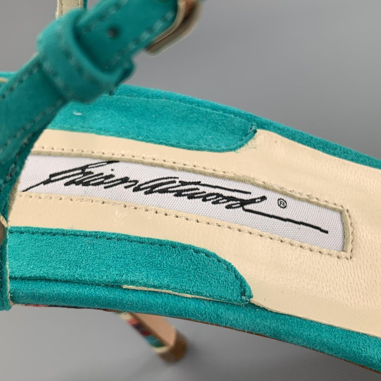BRIAN ATWOOD 7.5 Turquoise Suede Rainbow Heel Peep Toe TRIXIE Sandals For Sale 1