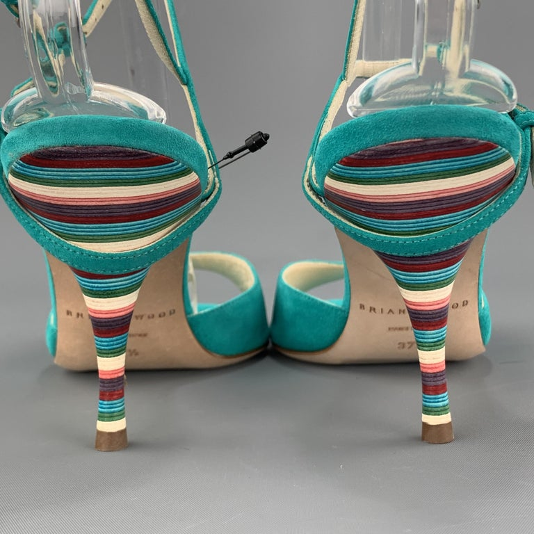 BRIAN ATWOOD 7.5 Turquoise Suede Rainbow Heel Peep Toe TRIXIE Sandals For Sale 3