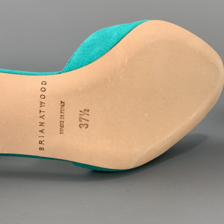 BRIAN ATWOOD 7.5 Turquoise Suede Rainbow Heel Peep Toe TRIXIE Sandals For Sale 4