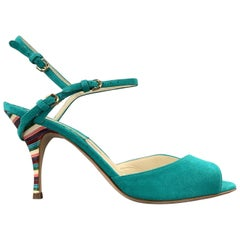 BRIAN ATWOOD 7.5 Turquoise Suede Rainbow Heel Peep Toe TRIXIE Sandals