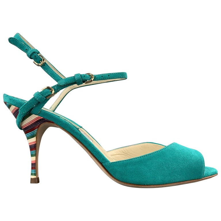 BRIAN ATWOOD 7.5 Turquoise Suede Rainbow Heel Peep Toe TRIXIE Sandals For Sale