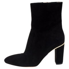Brian Atwood Black Suede Zipper Detail Boots Size 39