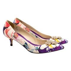Brian Atwood Floral Pattern Silk Kitten Heel Embellished Pumps size 41