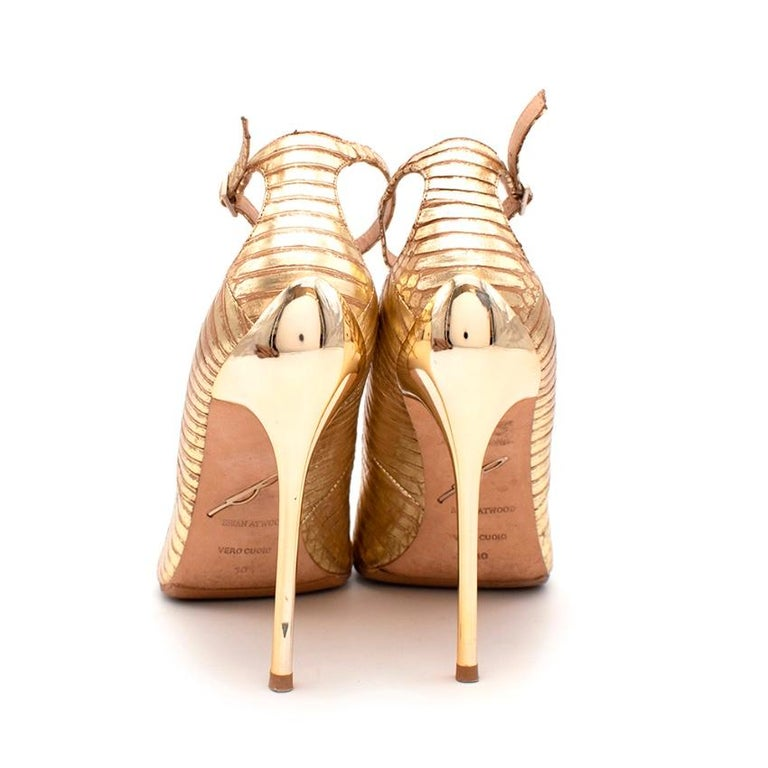 Brown Brian Atwood Gold Snakeskin Embossed Open Toe Sandals - Size 41 For Sale