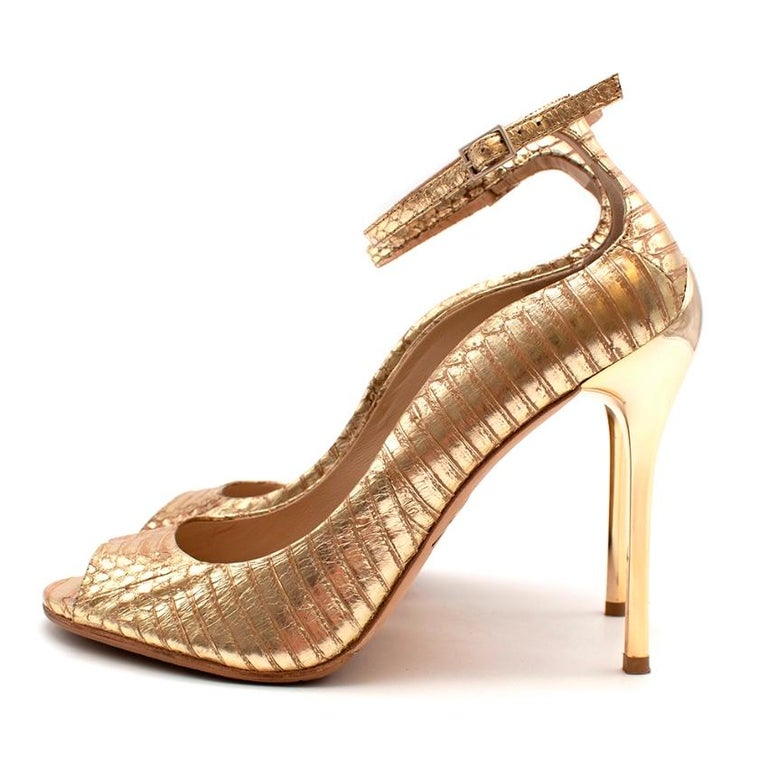 Brian Atwood Gold Snakeskin Embossed Open Toe Sandals - Size 41 For Sale 2
