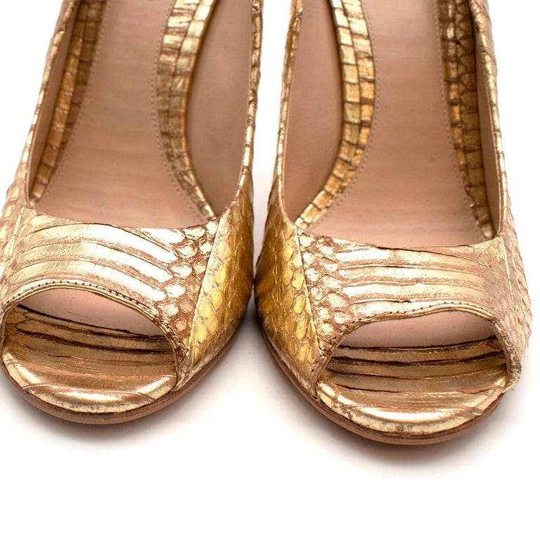 Brian Atwood Gold Snakeskin Embossed Open Toe Sandals - Size 41 For Sale 3
