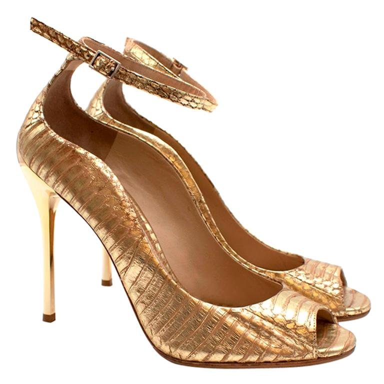Brian Atwood Gold Snakeskin Embossed Open Toe Sandals - Size 41 For Sale