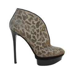 Brian Atwood Metallic Gold Cheetah Platform Ankle Boots