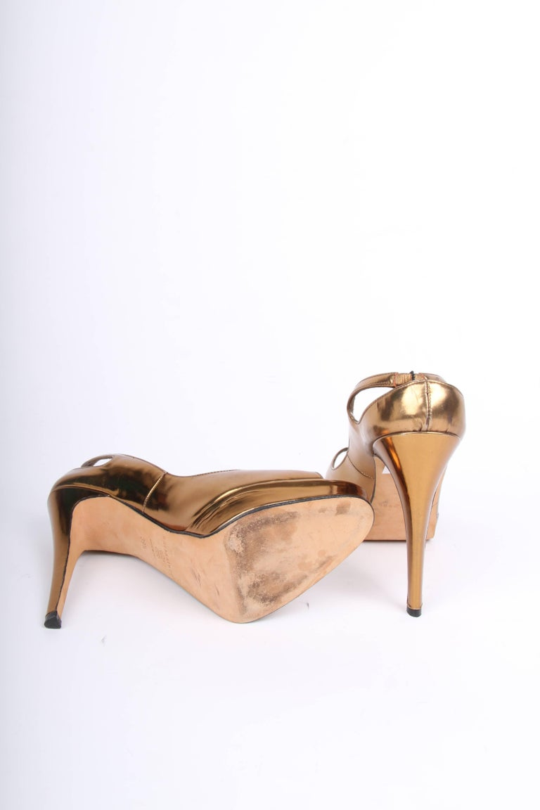 Brown Brian Atwood Peep Toe Pumps - metallic bronze leather For Sale