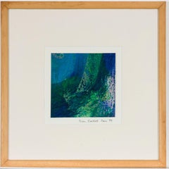 Brian Bartlett - Signed 1999 Mixed Media, Abstract in Blue and Green