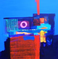 After Midnight 2 - contemporary neon bright geometric abstract acrylic painting