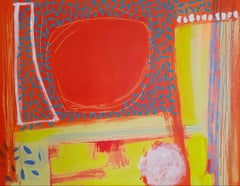 Antigua - contemporary bright orange abstract acrylic painting
