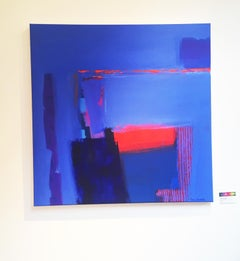 Arizonia Swan Song  -contemporary red blue abstract painting acrylic on canvas