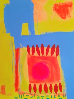 Aztec - contemporary bright colourful abstract acrylic painting