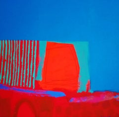 Bolero  -contemporary red and blue abstract painting acrylic on canvas