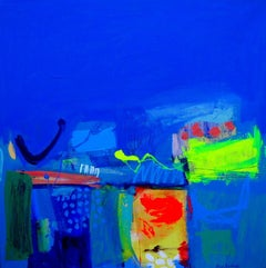 By the Blue Bayou  -contemporary blue abstract painting acrylic on canvas
