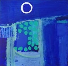 Coast (By Moonlight) - contemporary abstract bright blue acrylic painting