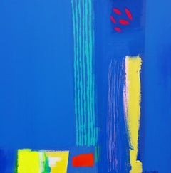 Cote d'Azur - contemporary vibrant bright blue abstract acrylic painting