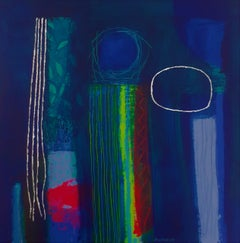 In the Bleak Midwinter - contemporary abstract dark blue acrylic painting