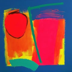 Key Largo - contemporary bright colourful abstract square acrylic painting