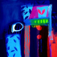 Nebuchadnezzar -contemporary red and blue abstract painting acrylic on canvas