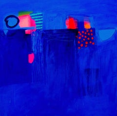 On a Summers Day - contemporary bright blue abstract painting acrylic canvas