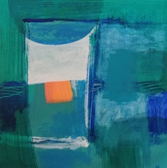 Past Times (Ever Green) - contemporary abstract bright green acrylic painting