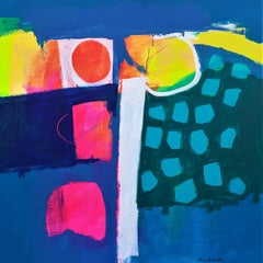 Plenty - contemporary colorful abstract bright neon acrylic painting
