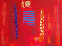 Red Antigua - contemporary abstract red acrylic painting canvas