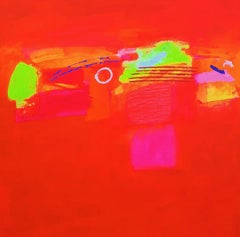 San Remo Sunset - Bold, Colourful & Abstract Painting: Acrylic on Canvas