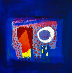 Seaview - contemporary abstract bright dark blue acrylic painting
