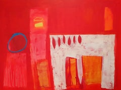 The Red Room - contemporary bright red abstract acrylic painting