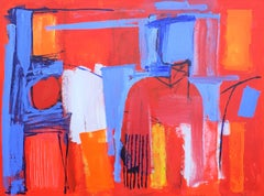 The Red Room II - contemporary bright colourful red abstract acrylic painting