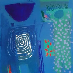 The Yeoman and his Wife - contemporary colourful blue abstract acrylic painting